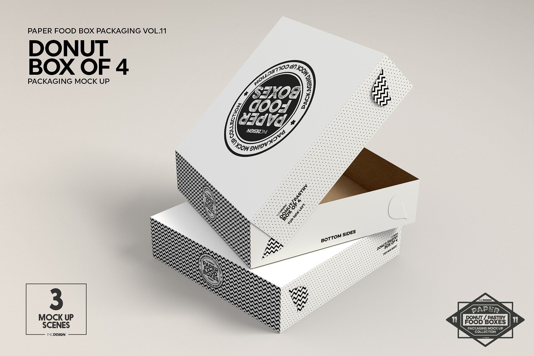 Download Box Of Four Donut Pastry Box Mockup Food Box Packaging Box Packaging Box Mockup