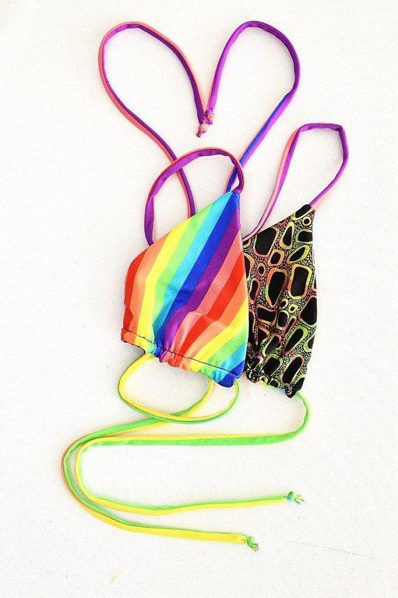 f797564f7d Reversible Triangle Slide Bikini Top in Vertical Rainbow Stripe & Poisonous  Print w/Vertical Rainbow