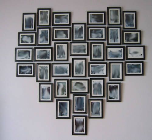 hanging frames in a heart shape  pictures  home  diy