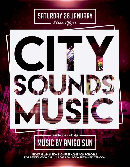City Sounds Music Free Flyer Template  HttpFreepsdflyerCom