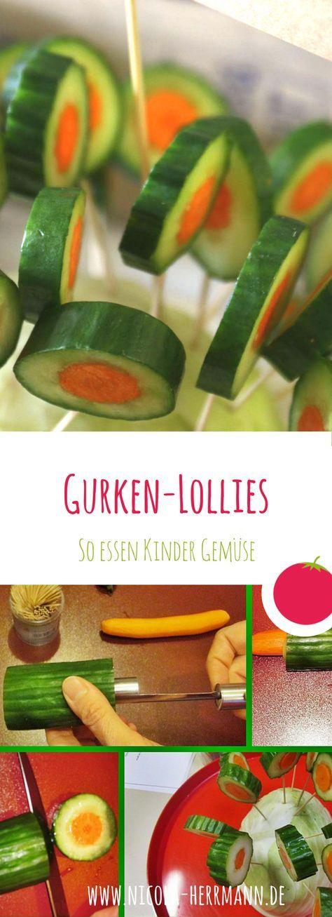 Gemüse, das Kinder wirklich essen: Meine Gurken-Lollies - Zuckerfreie Familienküche: gesunde vollwertige Ernährung für die ganze Familie ohne Zucker #fingerfoodkinder