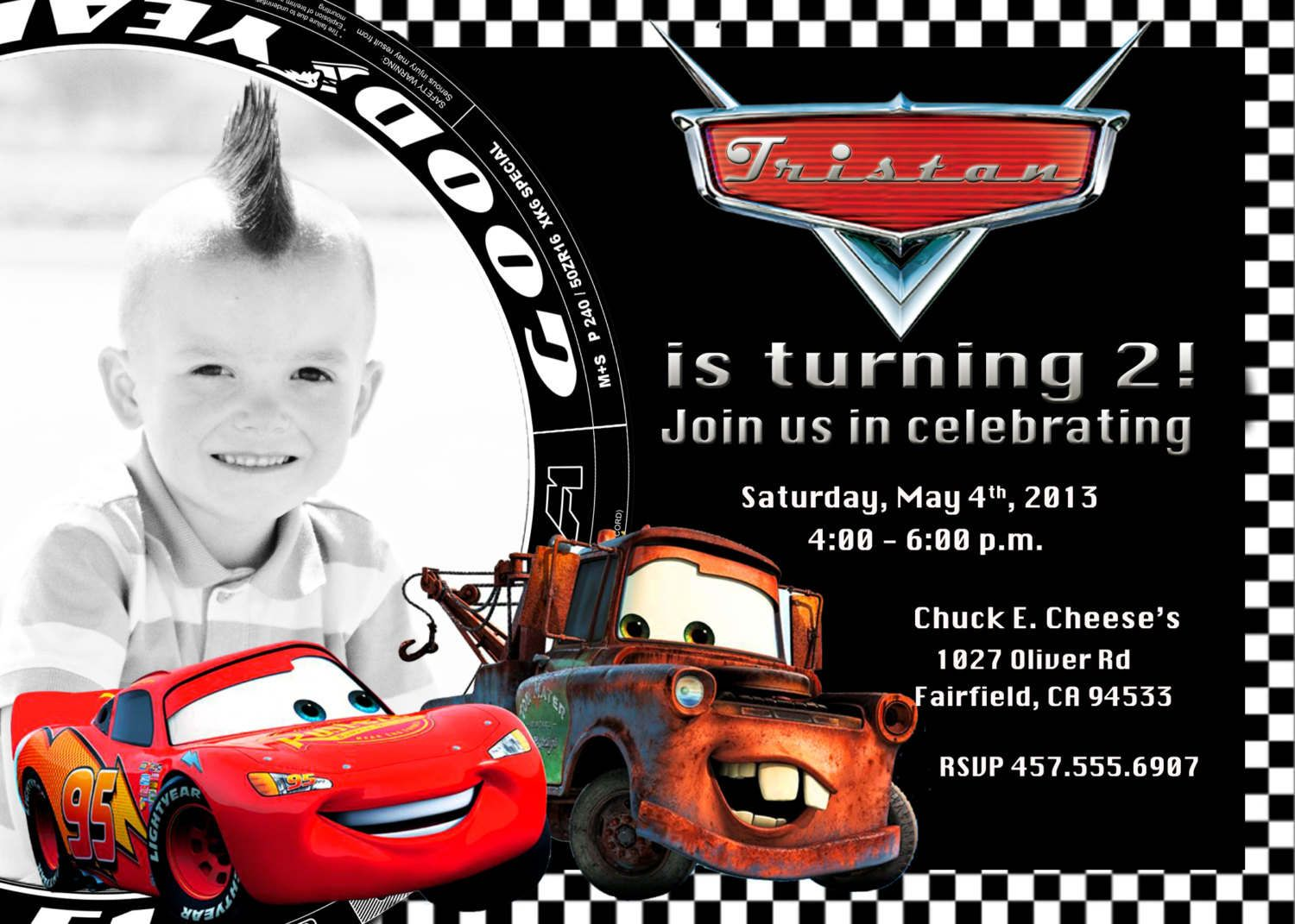 Free Printable Disney Cars 2 Birthday Invitations