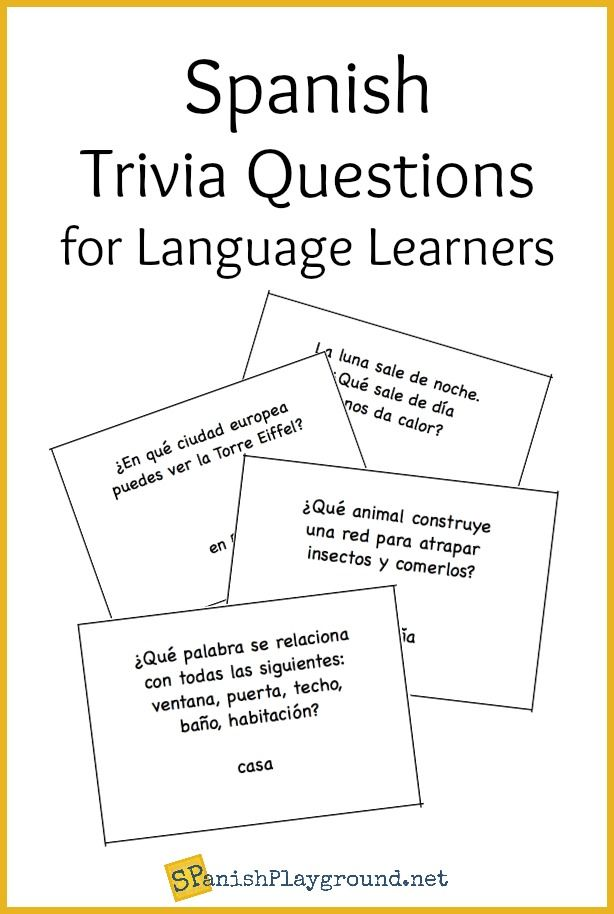 Spanish Trivia Questions Printable Cards is part of Learning spanish, Learning spanish for kids, Spanish learning activities, Spanish conversation, Spanish games for kids, Trivia questions - Spanish trivia questions for language learners  Kids practice Spanish skills as they ask and answer general knowledge questions  Printable cards