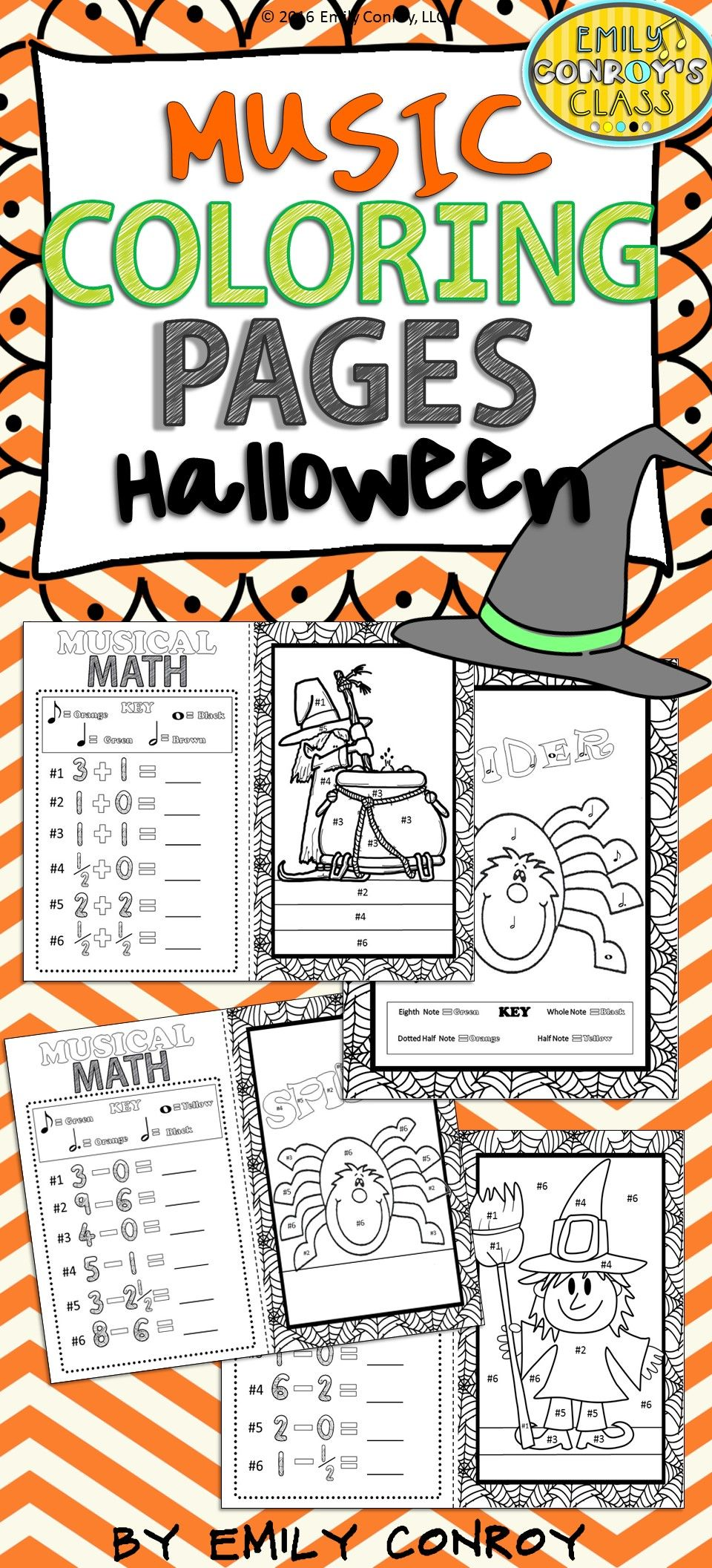 Music Coloring Pages (16 Halloween Music Coloring Sheets ...