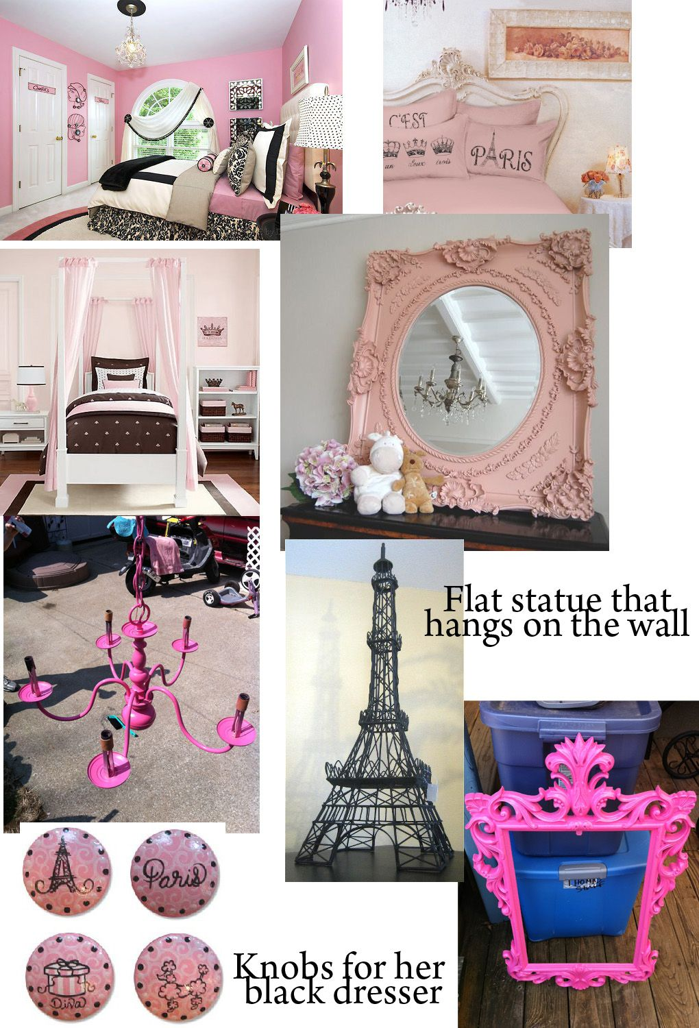 pink and black paris theme girls room...idea if I ever convert ...