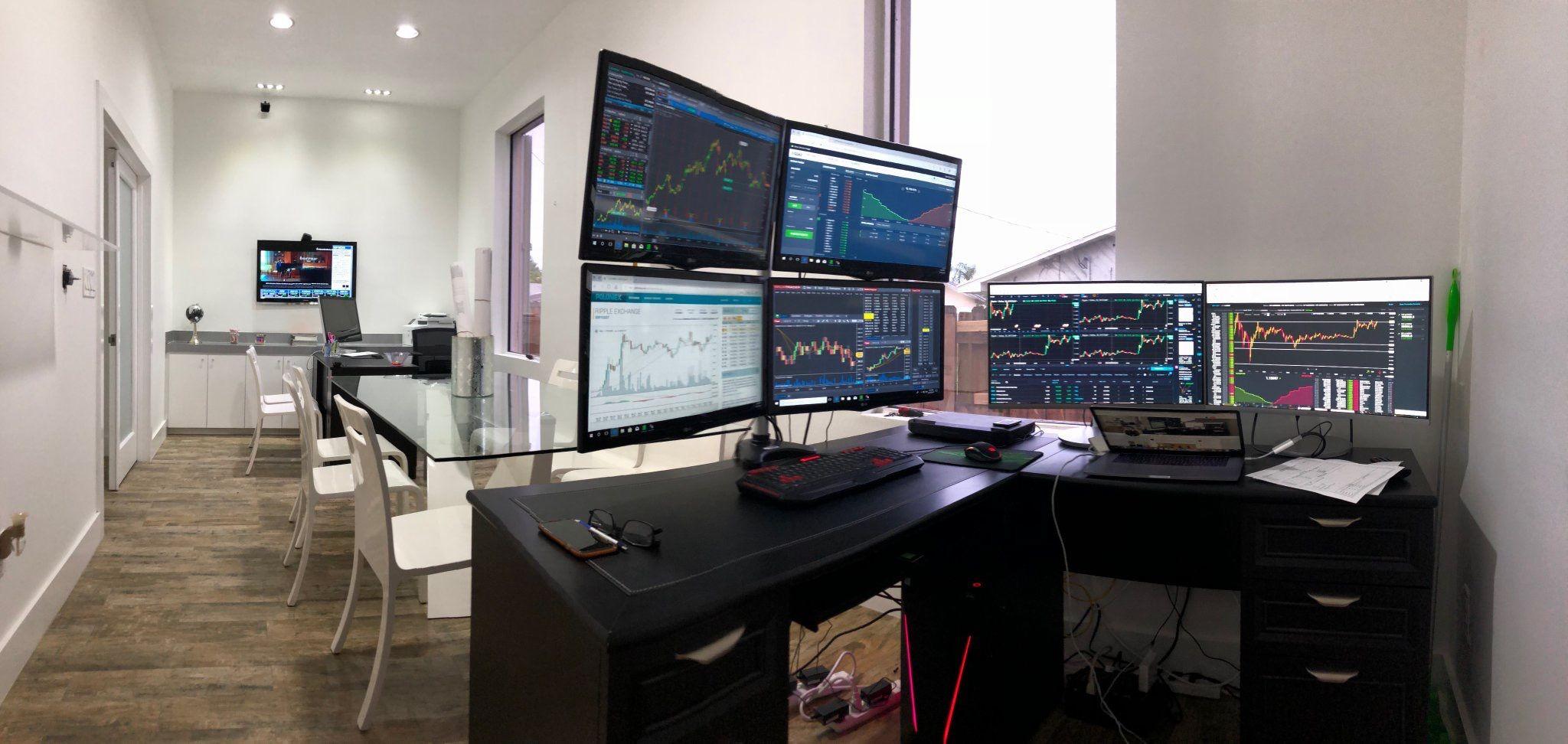 Trader trading desk setup in 2019 | Trading desk, Home