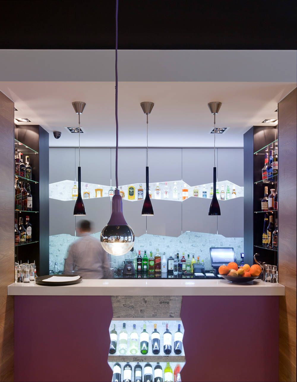 warmhouse #paper #interior #bar #counter #cafe #restaurant #purple
