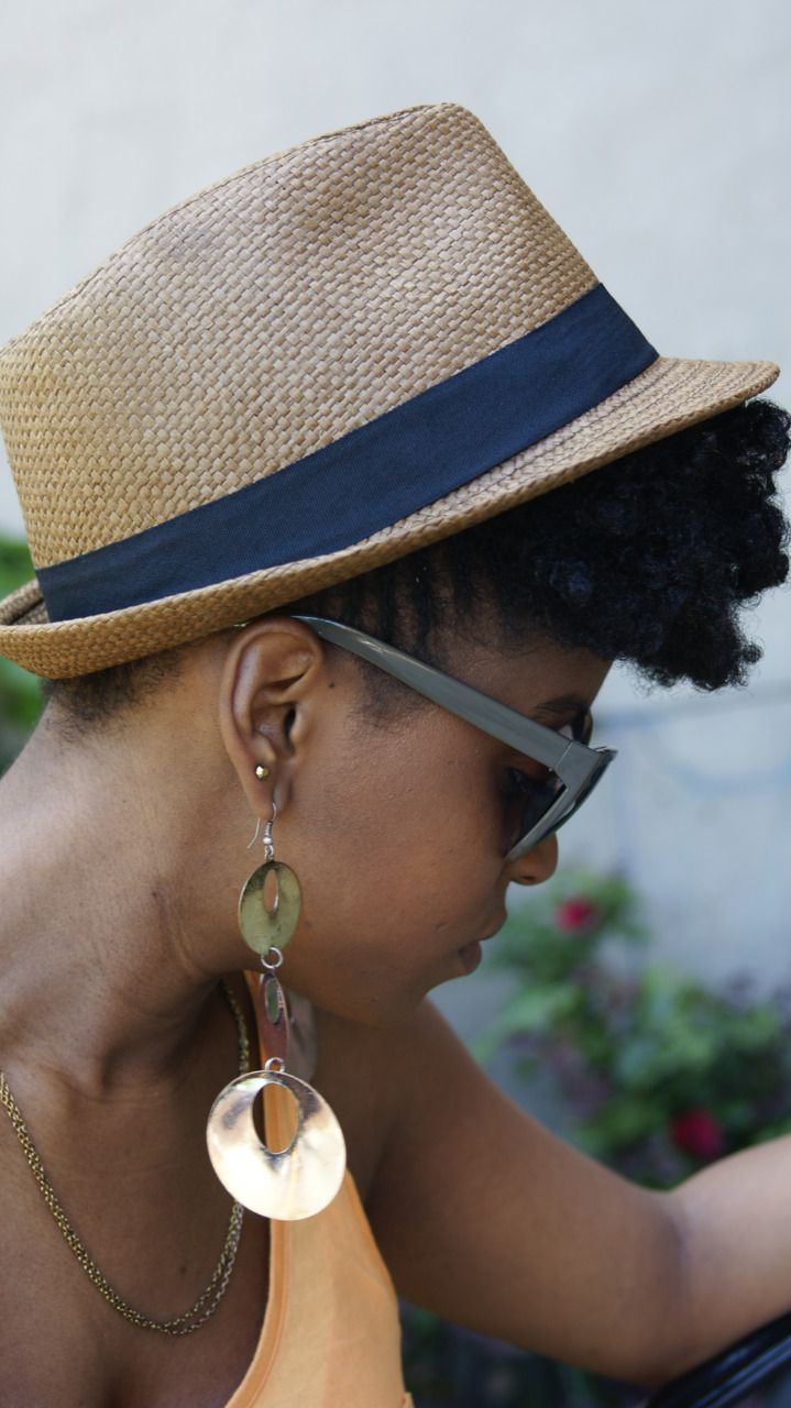 Great way to wear a twist out and fedora hat. I especially love the hair  popping out at the front rather than the back. Love that mod retro look! afc9dc11b90