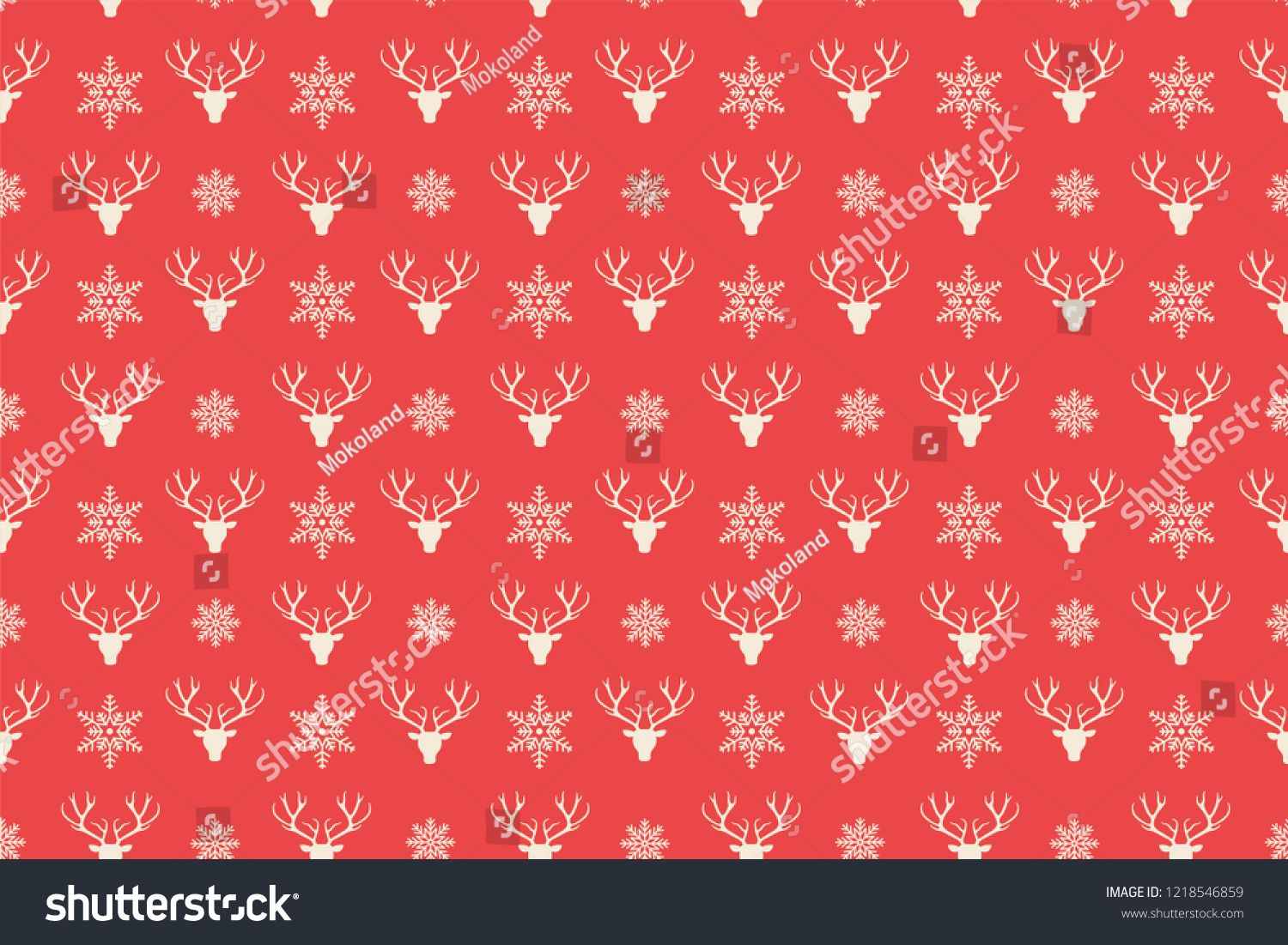 Merry Christmas Pattern Seamless Reindeer Head Background Red Xmas Wallpaper Endless Texture For Gift Christmas Pattern Xmas Wallpaper Super Healthy Recipes