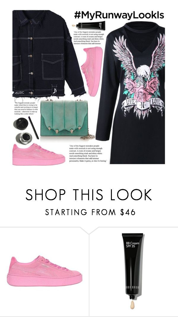 """What's YOUR Runway Look?"" by beebeely-look ❤ liked on Polyvore featuring Puma, Bobbi Brown Cosmetics, NYFW, edgy, shirtdress, sammydress and MyRunwayLookIs"