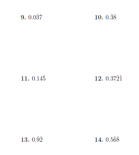 recurring decimals mixed problems a worksheet on converting  recurring decimals mixed problems a worksheet on converting recurring  decimals with repeating and nonrepeating digits to fractions