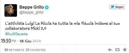 Ragazzi Grillo ma Twitterato e parla bene di me.