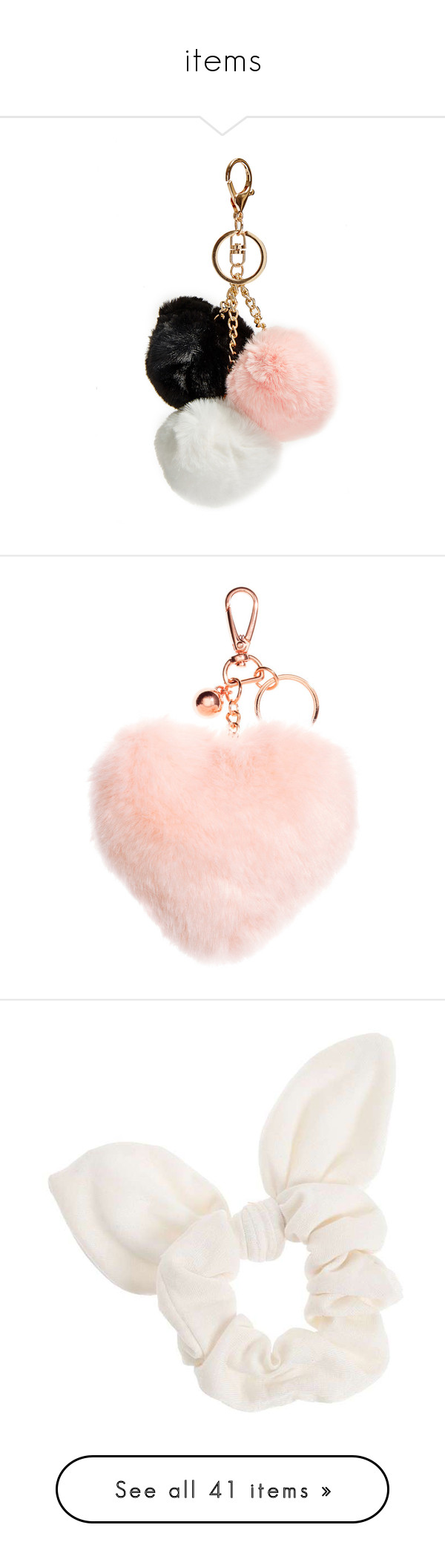 """items"" by annacc ❤ liked on Polyvore featuring accessories, keychains, other, key chains, items, fob key chain, key chain, pom pom key chain, heart key ring and hair accessories"