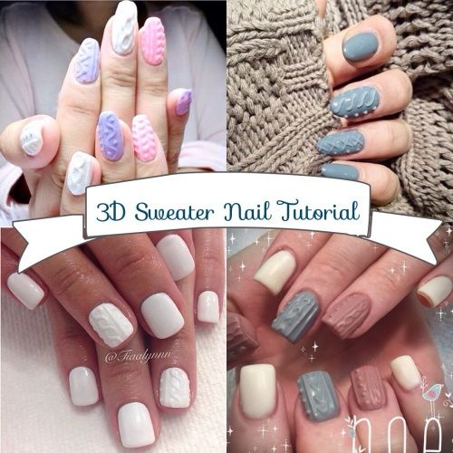 3d Cable Knit Sweater Nail Art Tutorial Chic Nail Styles Sweater Nails Acrylic Nail Designs Cable Knit Sweater Nails