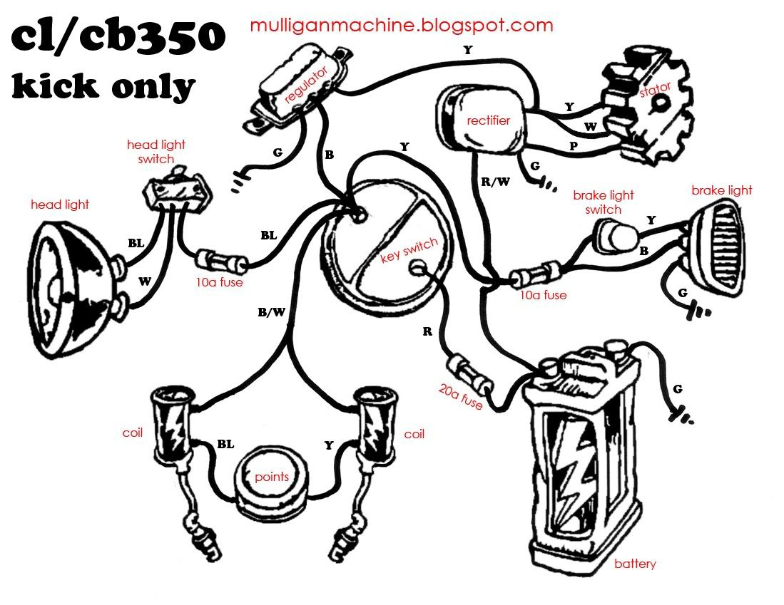 Cl Cb350wiringkickonly Jpg 1099 849 Motorcycle Wiring Cb350 Honda