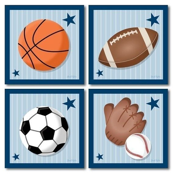 Set Of 4 Prints Sports Baseball Football Basketball Soccer With Images Sports Wall Art Sports Theme Decor Prints