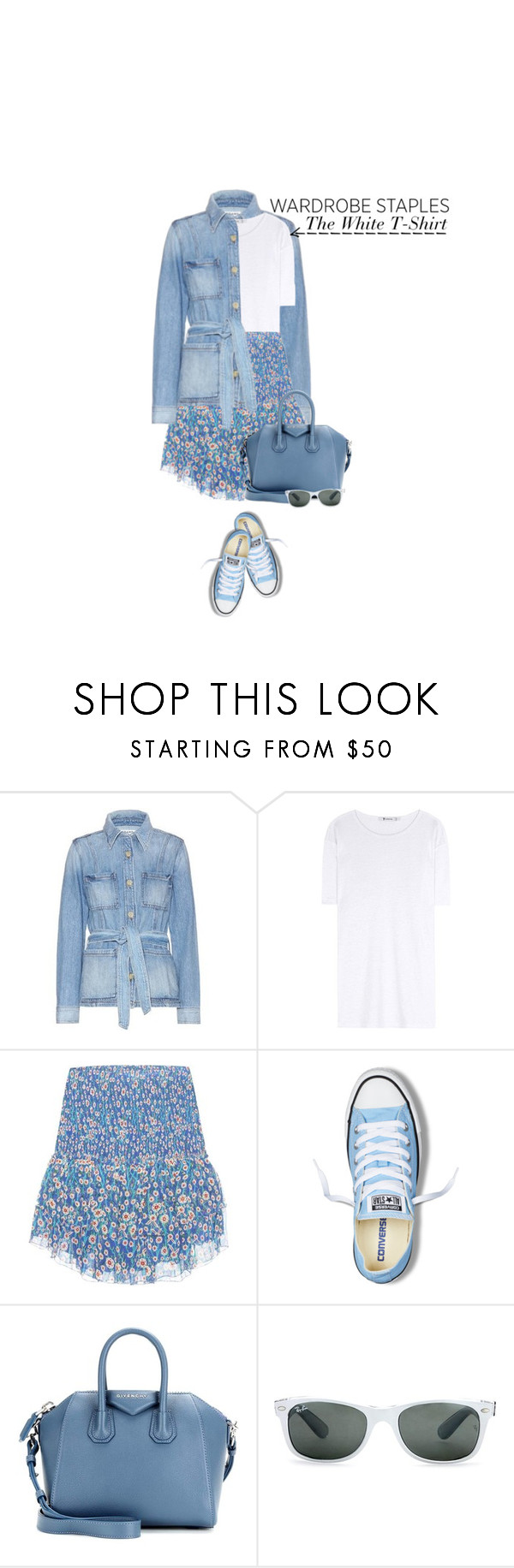 """""""Wardrobe Staples: The White T-Shirt"""" by hollowpoint-smile ❤ liked on Polyvore featuring Frame Denim, T By Alexander Wang, Étoile Isabel Marant, Converse, Givenchy and Ray-Ban"""