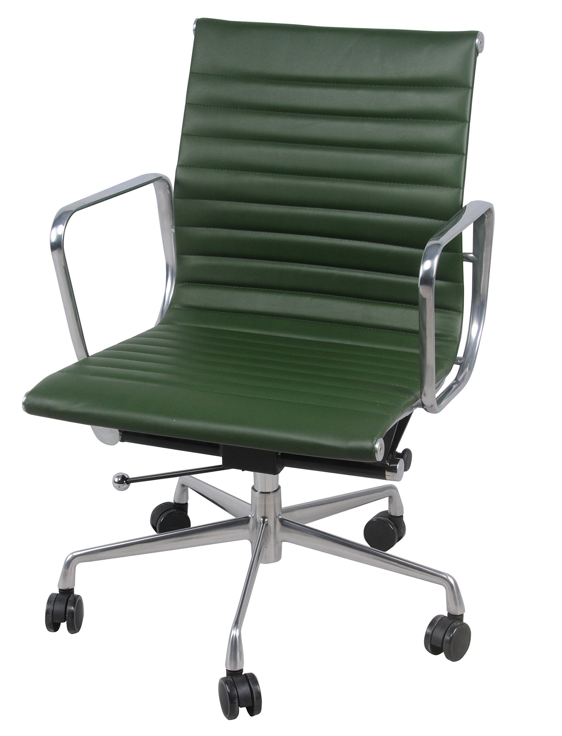 Langley Pu Leather Low Back Office Chairchrome Legsvintage Asparagus Green