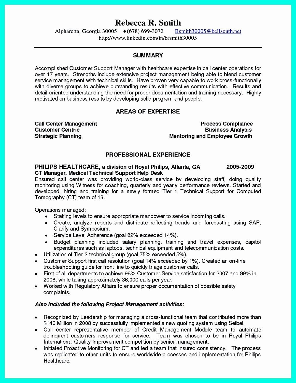 68 New Photos Of Example Of Resume for Call Center