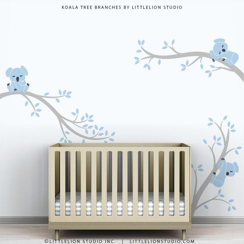 Baby Nursery Decal Decor Blue Baby Room Modern Decor Koala Tree