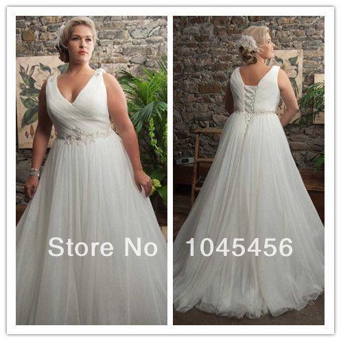 Hot Sale A Line V-neck Sweep/Brush Train Pleats Criss Cross Beading Sash Women Bridal Gown Tulle Plus Size Wedding Dress 2014 US $125.99