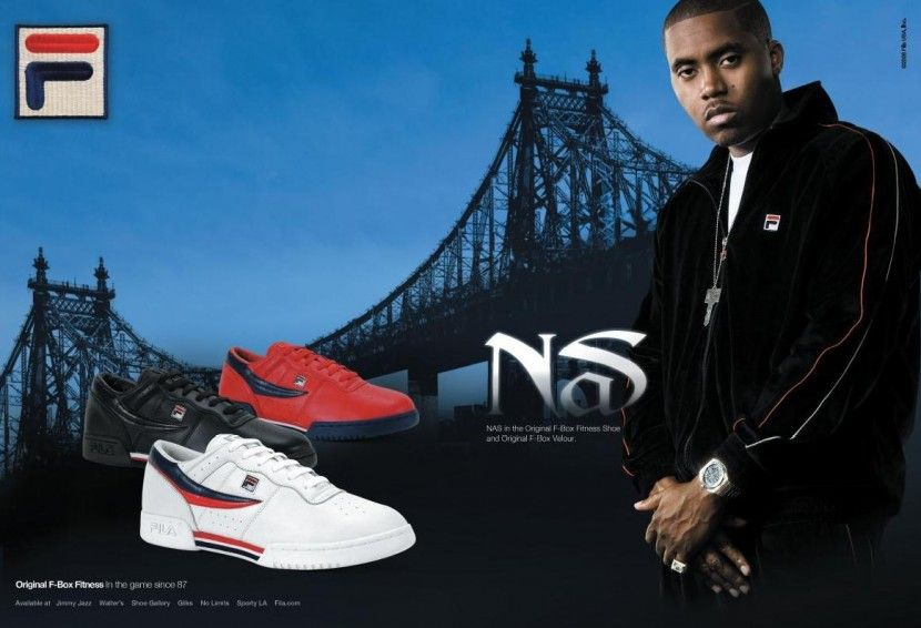 Rapper Nas Taking It Back To The Old Skool With Fila 90s Hip Hop Fashion Hip Hop Fashion Hip Hop