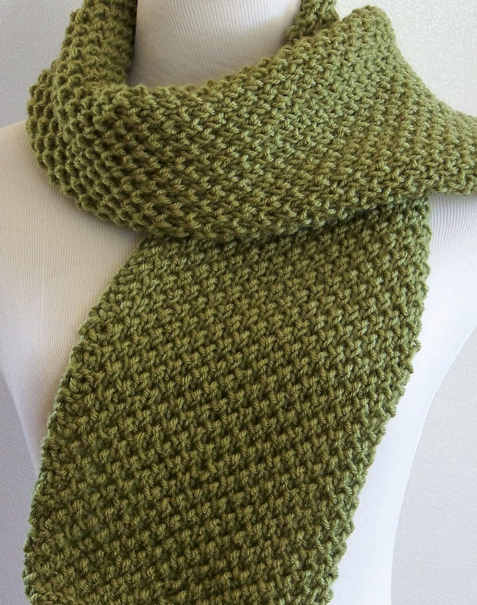 Knitting Pattern for Fern Scarf - This easy scarf consists of an ...