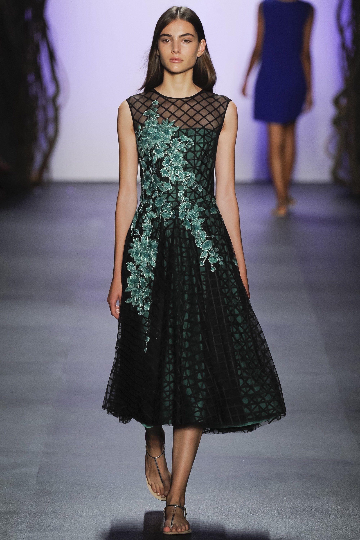 Tadashi Shoji   Spring 2016 Ready-to-Wear   11 Black/green sleeveless midi dress with floral embroidery