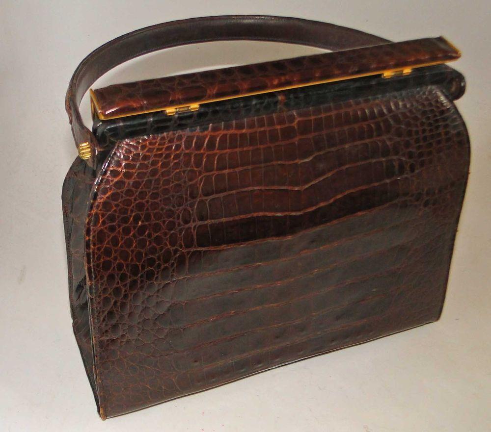 dac1a0e633e8 WoW ~~ BRAND NEW VINTAGE 1950s MANON Alligator Handbag ~ Rich Dark Brown  NEW !