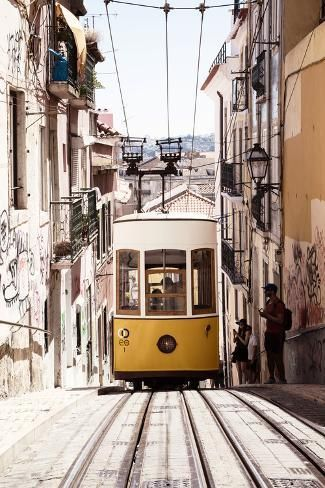 'Welcome to Portugal Collection - Bica Yellow Tram II' Photographic Print - Philippe Hugonnard | Art.com