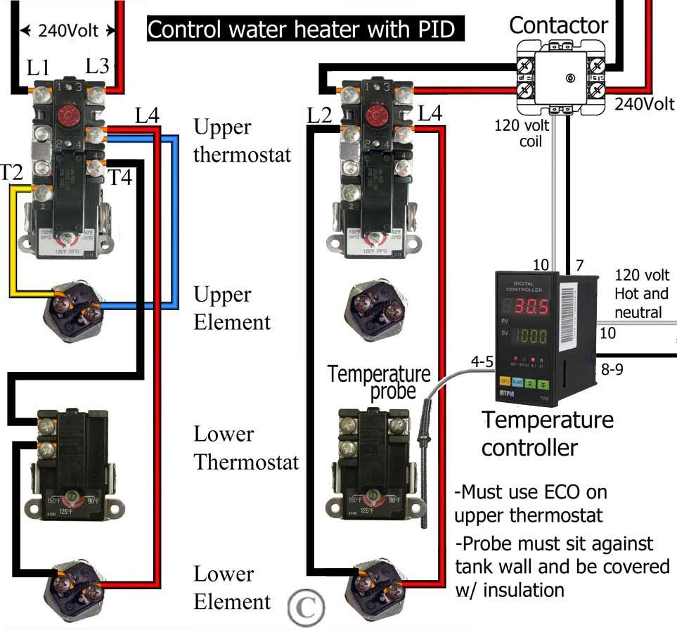 wiring diagram dual element hot water heater thermostat 4 wire control with pid: http://waterheatertimer.org/add-another-thermostat-to-gas-or ...