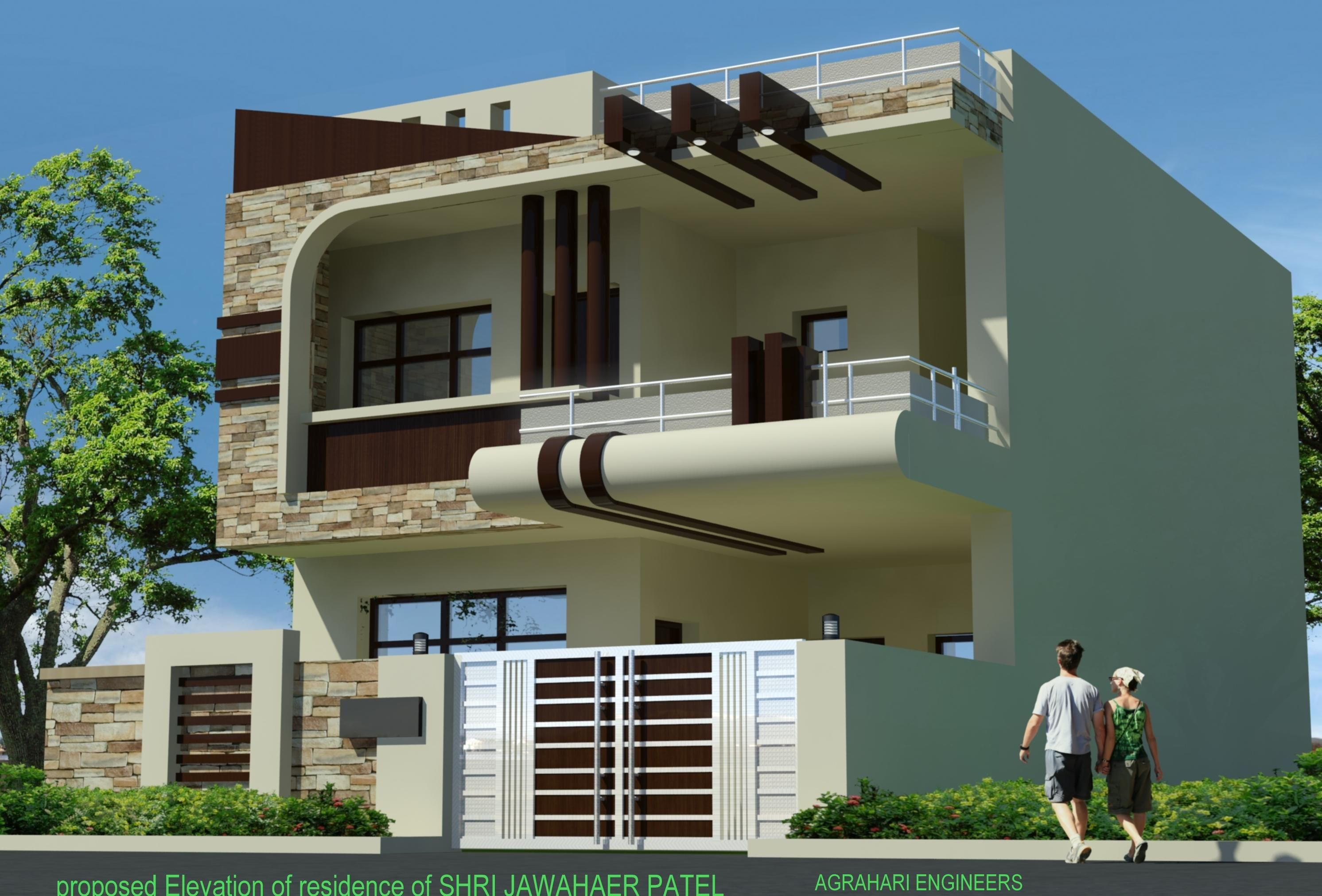 Front elevation of 25 elevation pinterest house for Single house front design