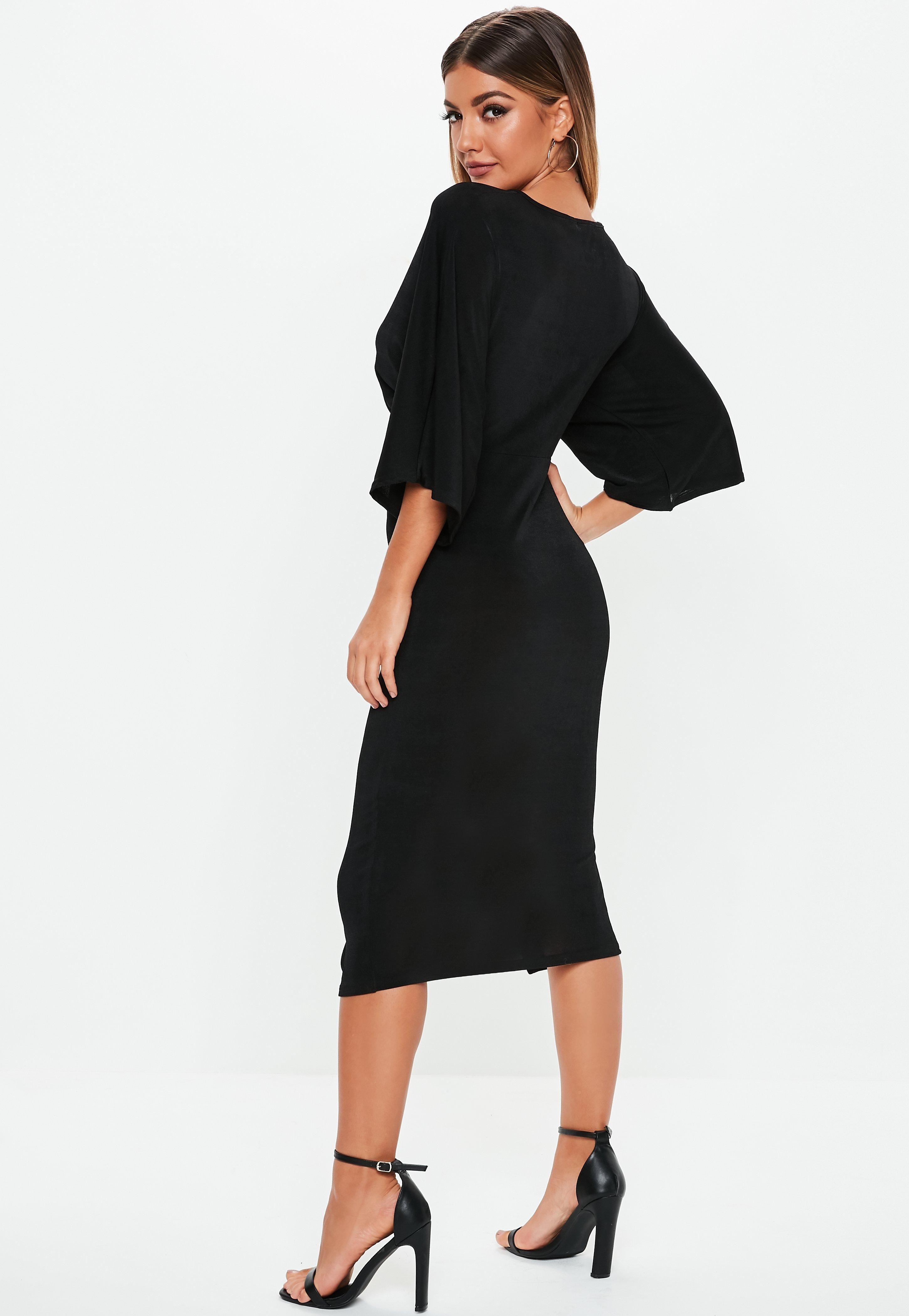 d54662f4bfce Black Kimono Sleeve Twist Front Midi Dress #Sponsored #Sleeve, #SPONSORED, #