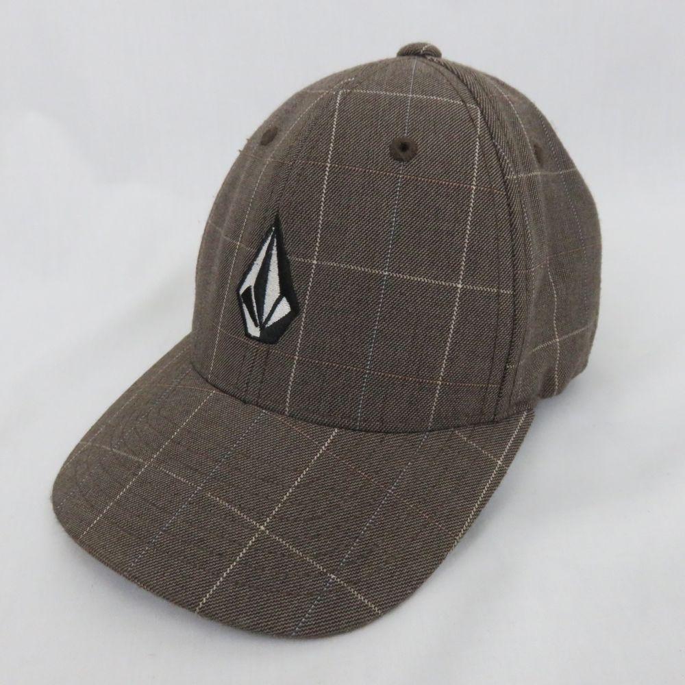 1f6b7b00daf Volcom Brown Plaid Kid Youth Curved Bill Baseball Hat Cap Hat Embroidered  Logo  Volcom  BaseballCap