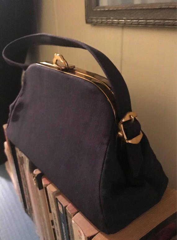 8636e73b09a 40 s 50 s navy blue box bag Vintage purse 1950 s handbag 1940 s gold brass  metal buckle hardware Fab