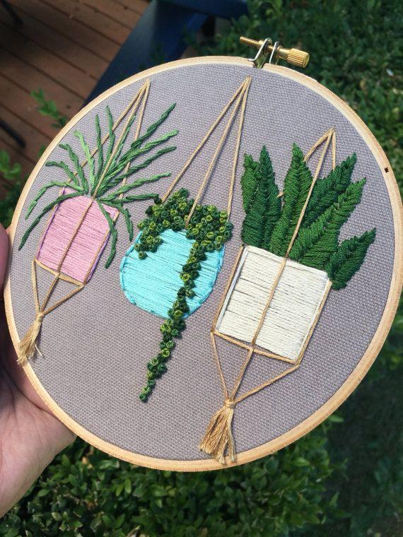 Hanging Plants Embroidery Pastel Hoop Art Boho Style