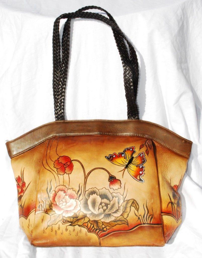 Biacci Handpainted Leather Erfly Woven Handbag Bn Authentic Ebay