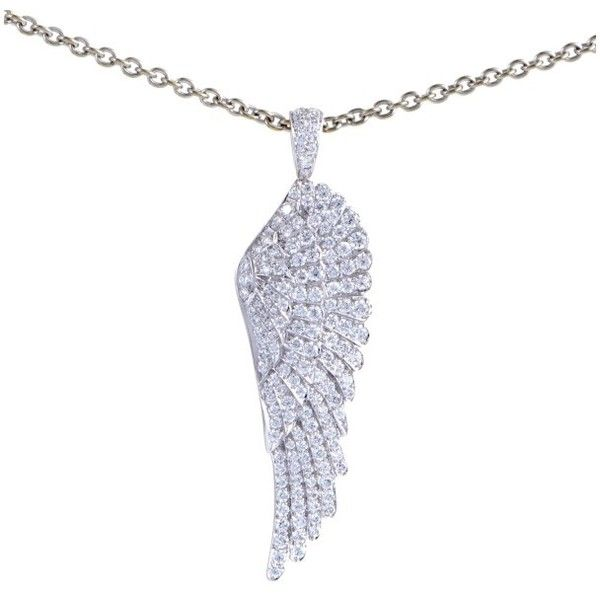 Pre Owned Garrard 18k White Gold Diamond Pave Angel Wing Pendant 9 500 Liked On Polyvore F White Gold Pendants White Gold Necklaces White Gold Diamonds