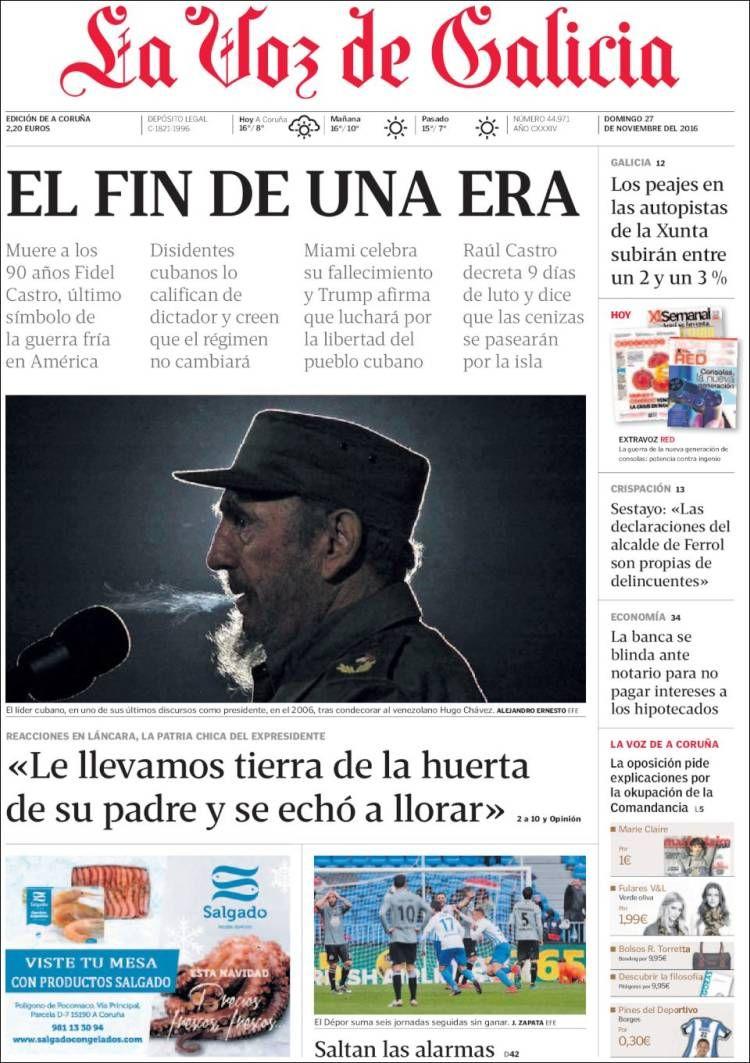Portada De La Voz De Galicia España Periodicos De España Periodico La Voz Historia De America
