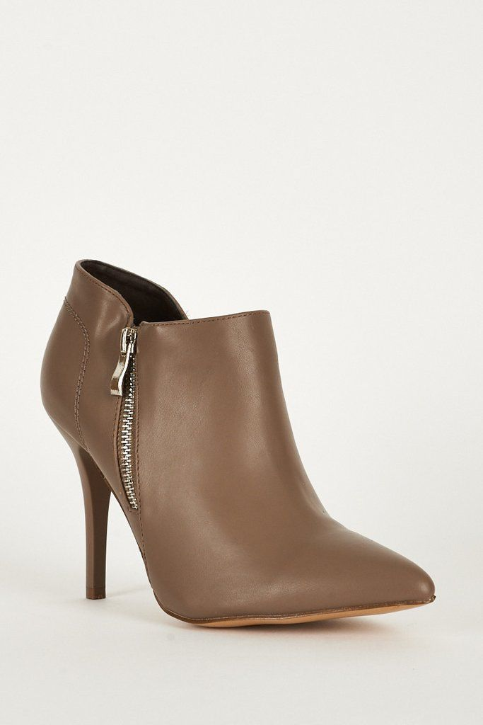 Mocha Stretch Panel Pointed Toe Faux Leather Womens Boots