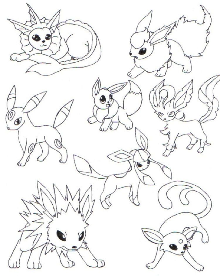 Pokemon Coloring Pages Eevee Evolutions Together In 2020 Pokemon Coloring Pages Pokemon Coloring Chibi Coloring Pages
