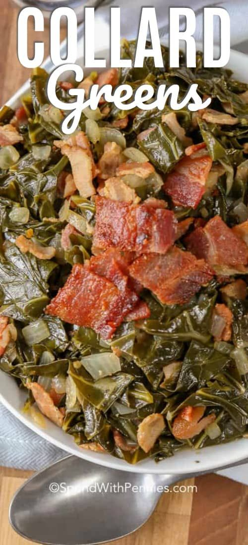 Collard greens with bacon are a delicious side dish that we love making with fried chicken. This collard greens recipe is easy, and makes the perfect comfort food! #spendwithpennies #greens #collardgreens #collard #friedcollardgreens #baconandcollardgreens #collardgreensandbacon #chickensidedishes
