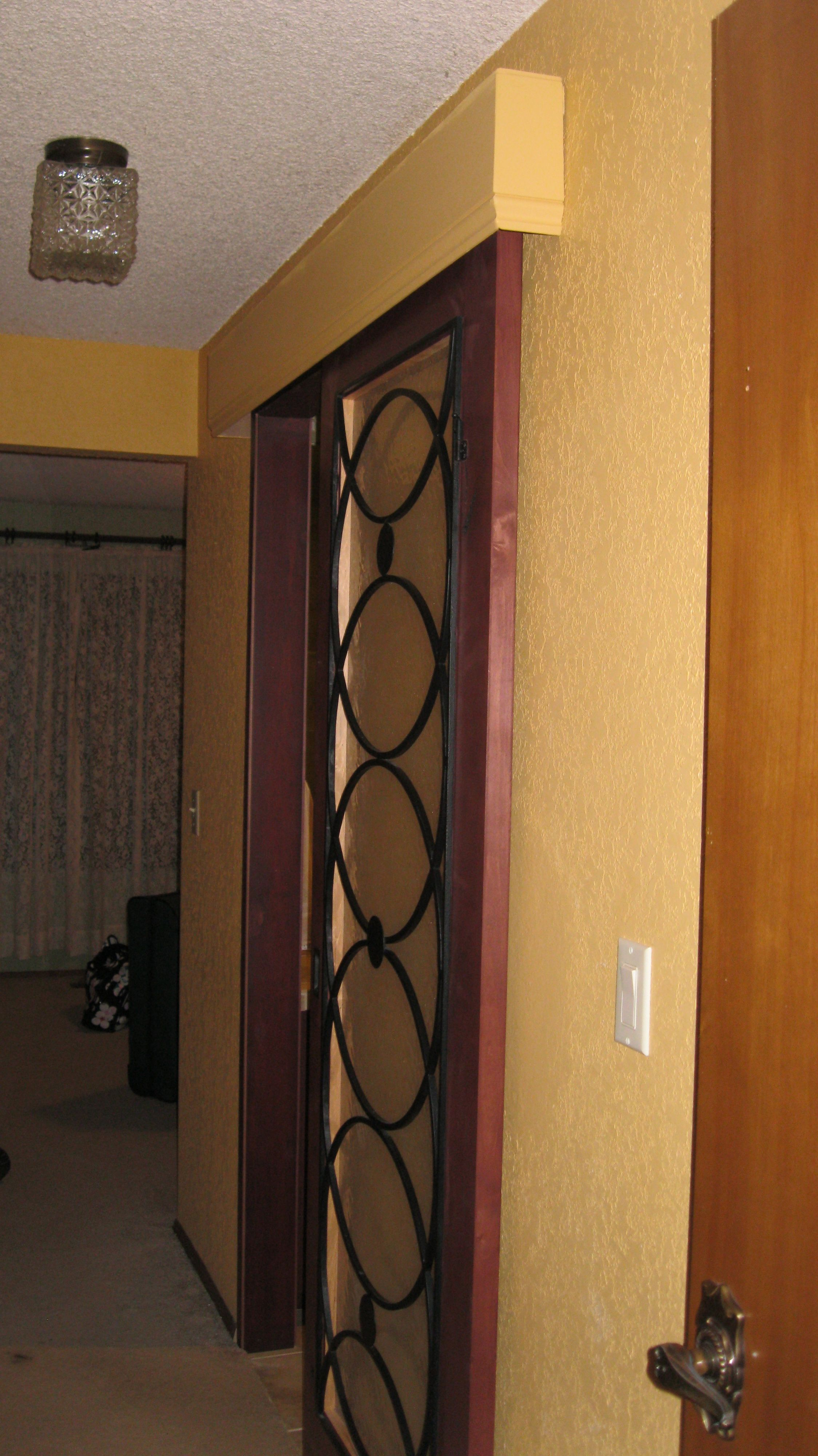 Barn door hardware with a cornice and a cool door instead of a pocket door for the bathroom. No need to tear out the wall & Barn door hardware with a cornice and a cool door instead of a ...