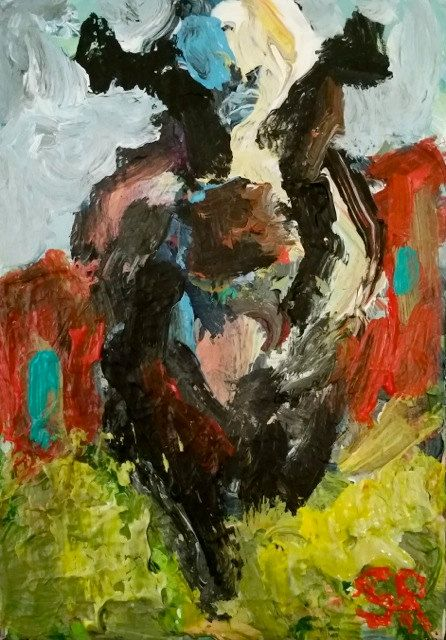 83068412c5d4 Abstract Custom Original Cow Painting Red Barn Farm Animal Art by SamRaines