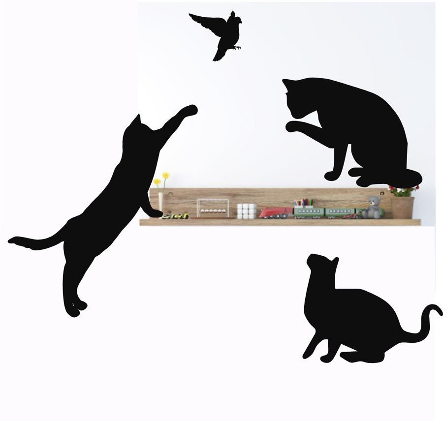 Cat Silhouette Wall Decals Feline Wall Stickers Cat Decor For