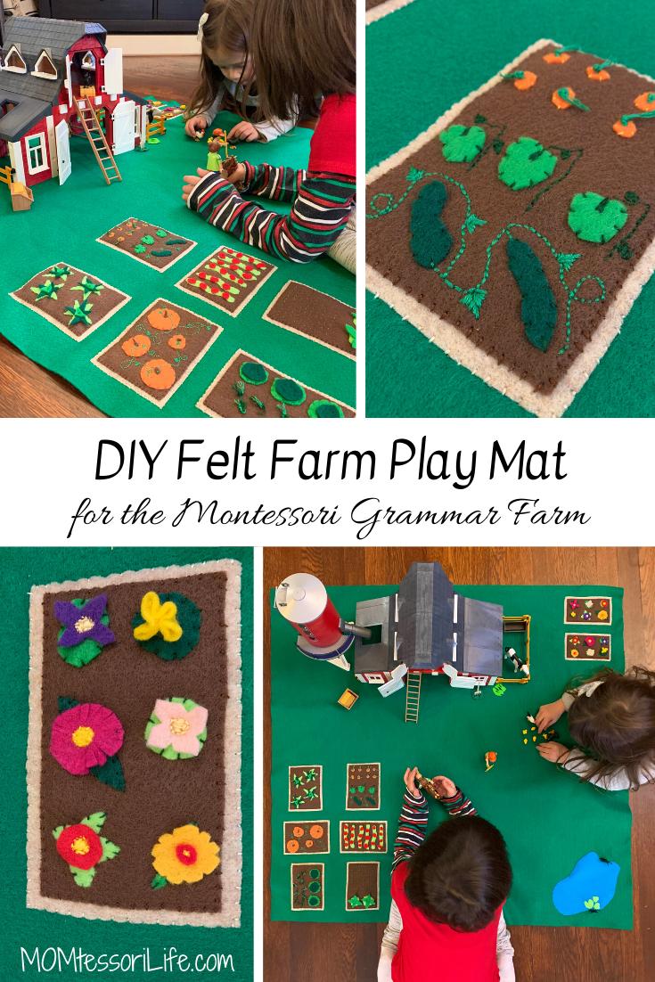 Diy Felt Farm Play Mat For The Montessori Grammar Farm Felt Toys Diy Felt Diy Felt Play Mat