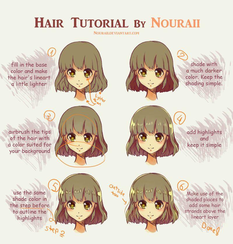 Hair Tutorial By Nouraii In 2020 Digital Art Anime Anime Tutorial Hair Tutorial
