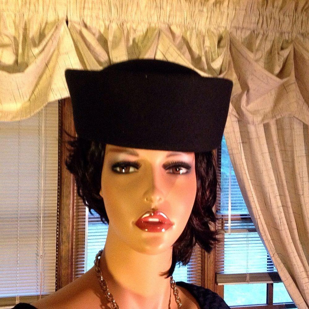2fb202b7cfe Attractive Women s Black Pillbox 100% Wool Felt Hat  Unbranded  Pillbox