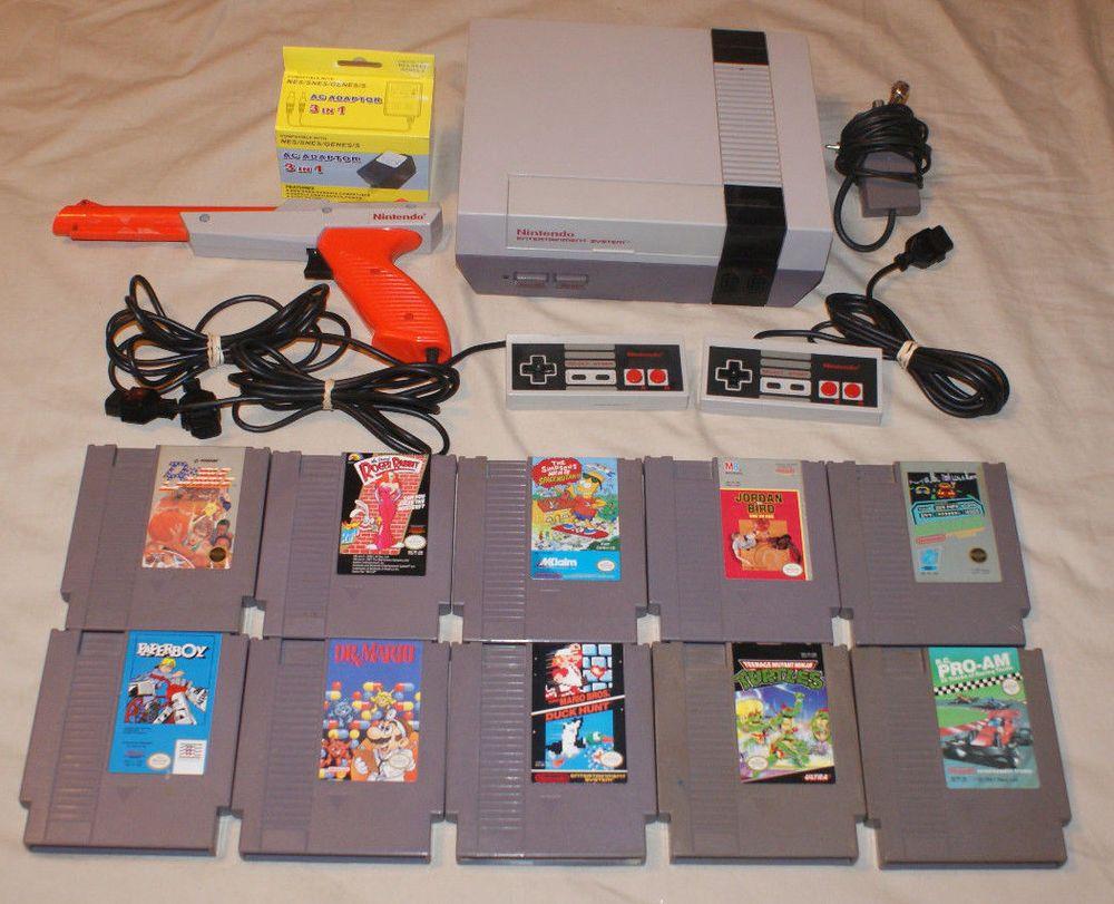 Nintendo Nes Console Lot 2 Controllers Zapper 10 Games Super Mario Duck Hunt Nintendo Nintendo Nes Entertainment System Nintendo