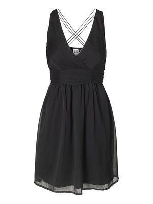 WATERFLOWER S/L SHORT DRESS, BLACK, main
